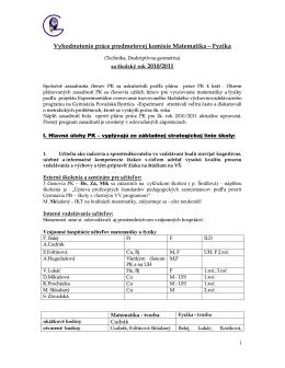Vyhodnotenie práce predmetovej komisie Matematika