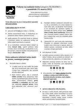 Pokyny na zadanie testu kategórie KLOKANKO 1 v pondelok 19
