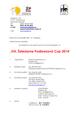 ZP Sport NBC - A Turnier 2014 slovenska pozvanka