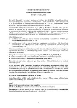 METODICKO-ORGANIZAČNÉ POKYNY 22. ročník