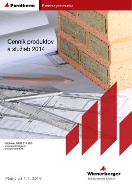 Cenník produktov a služieb 2014