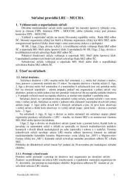 Súťažné pravidlá LRU-mucha pre rok 2015 - Sekcia LRU