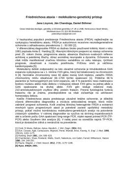 Friedreichova ataxia − molekulárno-genetický prístup