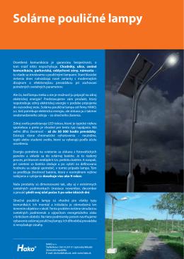 produktový list - solárne pouličné lampy