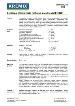 Lepiaca a stierkovacia malta na izolačné dosky K22