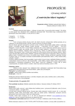 PROPOZÍCIE - Základná umelecká škola Sabinov