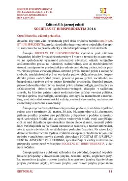 Editoriál k jarnej edícii SOCIETAS ET IURISPRUDENTIA 2014