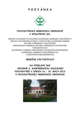 pozvánka Pinel máj 2013.pdf - Psychiatrická nemocnica Hronovce