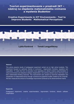 Tvorivé experimentovanie v prostredí IKT – nástroj
