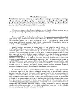 Metodické usmernenie MDVRR SR k vydávaniu záväzných