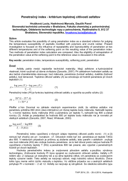 Penetračný index - kritérium teplotnej citlivosti asfaltov