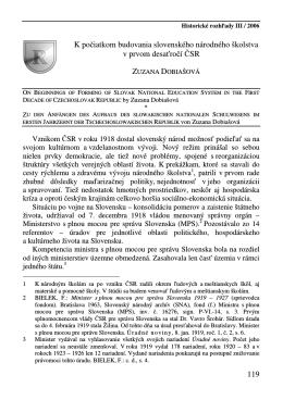 119 K počiatkom budovania slovenského národného školstva v