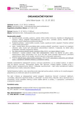 Organizačné pokyny EKO tábora 2012