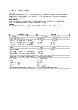 Zvlhčovač vzduchu WD 600 Technické údaje WD 600 Ventilátor 1