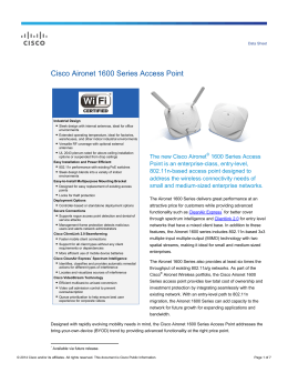 Cisco Aironet 1600 Series Access Points Data Sheet