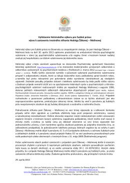 Vyhlásenie Helsinského výboru pre ľudské