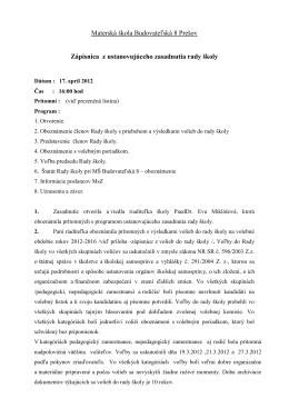 Rada školy pri materskej škole Sabinovská 22/A