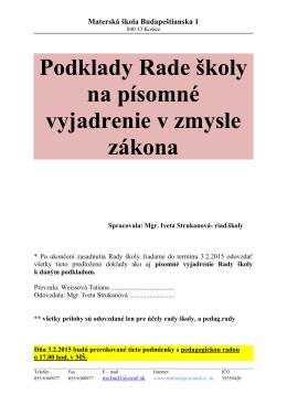 RADA ŠKOLY (podklady od riaditeľky školy 2015)