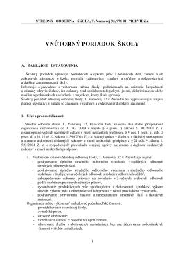 VNÚTORNÝ PORIADOK ŠKOLY - Stredná odborná škola Prievidza