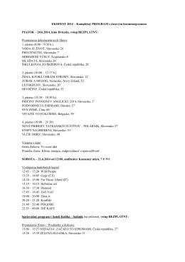 EKOFEST 2014 s časovým harmonogramom