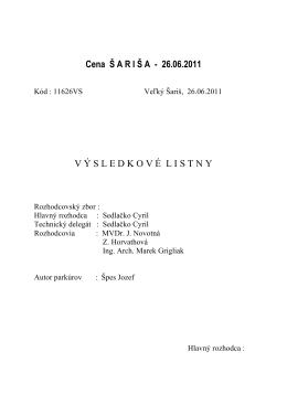 Cena Sariša Velky Sariš 26.6.2011
