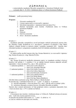 Zápisnica a uznesenie z 31.10.2012