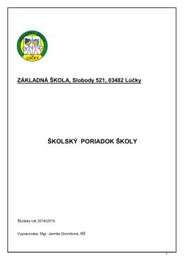 Školský poriadok školy