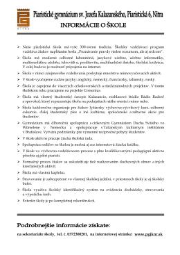 Informácie o škole