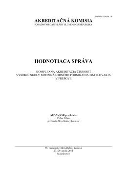 HODNOTIACA SPRÁVA - Akreditačná komisia