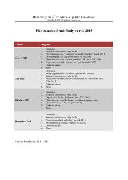 Plán zasadnutí rady školy na rok 2015
