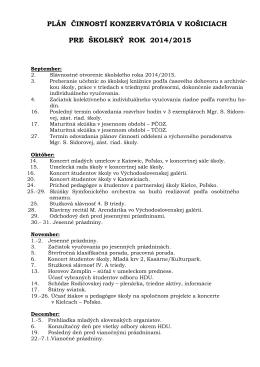 Plán činností školy 2014-15