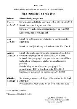 Rada školy – plán zasadnutí na rok 2014