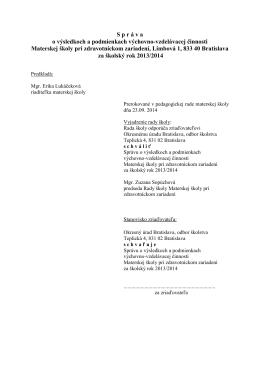 Výročná správa 2013-2014 - Materská škola pri zdravotníckom