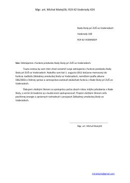 Mgr. art. Michal Matejčík; 919 42 Voderady 424