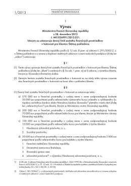 Finančný spravodajca 1/2013