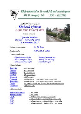 Klubova vystava - Propozicia KCHSPP-20