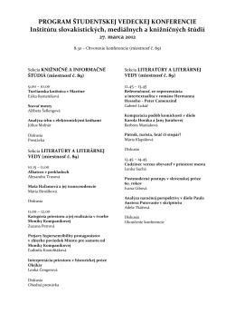 program konferencie - Inštitút slovakistických, mediálnych a