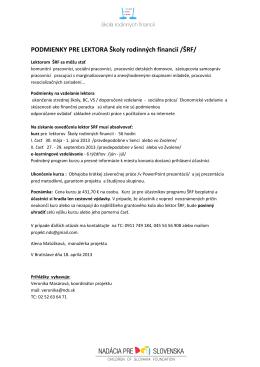 PODMIENKY PRE LEKTORA Školy rodinných financií /ŠRF/