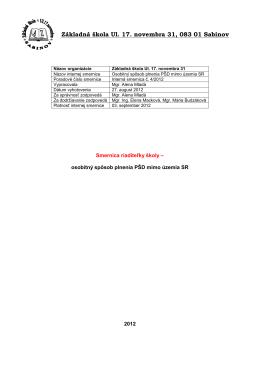 Smernica o osobitnom spôsobe plnenia PŠD mimo územia SR