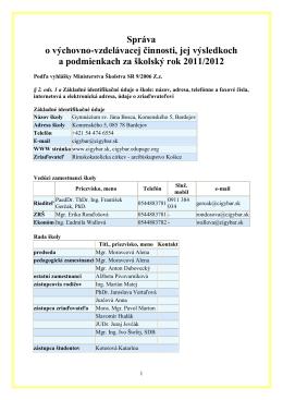 Správa_VVČ_za rok 2011/12 - Gymnázium sv. Jána Bosca v