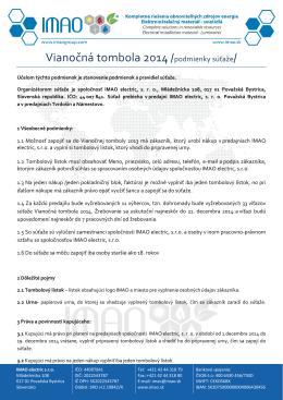 Vianočná tombola 2014 /podmienky súťaže/