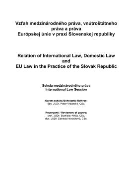 Vzťah medzinárodného práva, vnútroštátneho