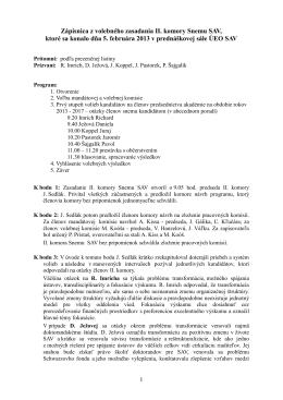 Zápisnica zo zasadnutia II. komory Snemu SAV 5.2.2013