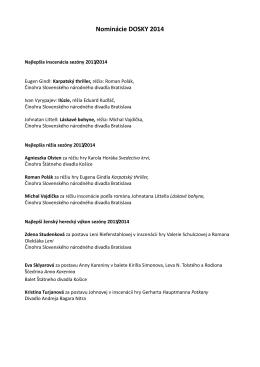 Zoznam nominácií ankety DOSKY 2014