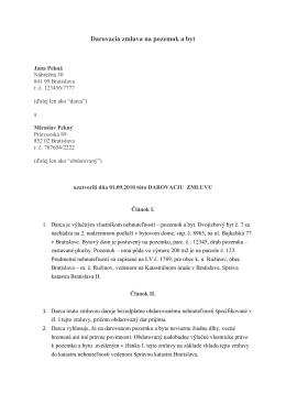 Darovacia zmluva na nehnuteľnosť (Formát PDF)
