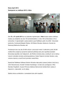 News Apríl 2013 Zastúpenie na JobExpo 2013 v Nitre
