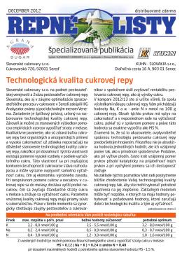 Prevziať Repné listy č.12 / 2012 (PDF)