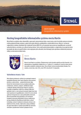 Mesto Martin Hosting Geografického informačného systému