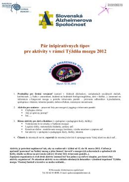 Pár inšpiratívnych tipov pre aktivity v rámci Týždňa mozgu 2012