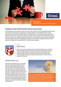 Mesto Senica Projektový zámer Informačného systému